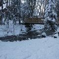 Torrent du Bonnant avec pont pour accès pistes de ski nordique