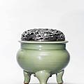 A Longquan celadon tripod censer, Ming dynasty (1368-1644)