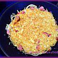 Galette de pâtes aux saucisses ou bacon ou jambon sec