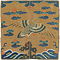 An embroidered civil official's rank badge of a goose, buzi, late kangxi period (1662-1722)