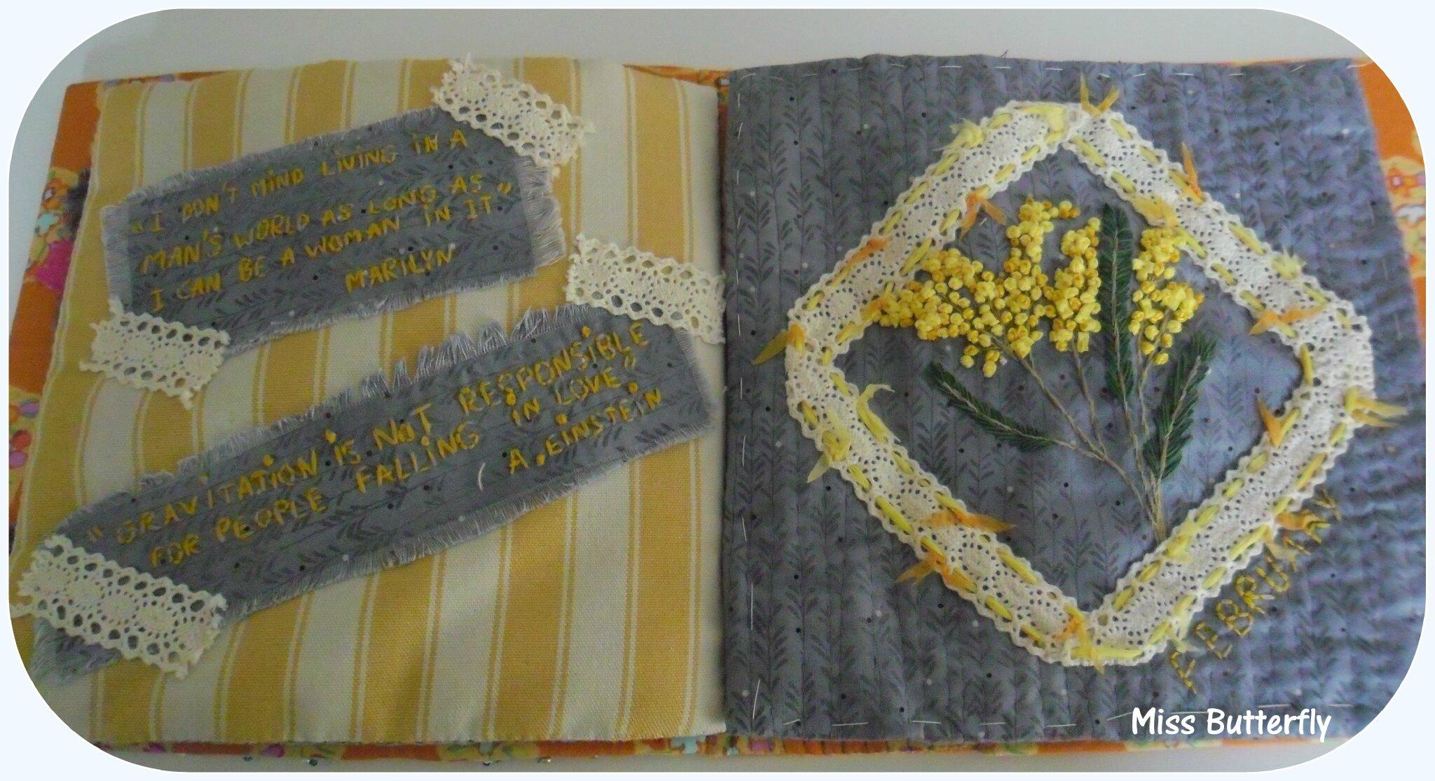 Carnet textile Les pages de février