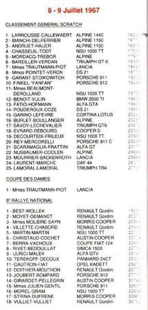 1967 - Classement international avec (Y
