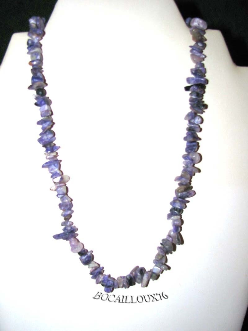 COLLIER CHIPS BAROQUES CHAROITE 2 - FERMOIR ARGENTE