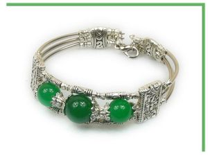 1 RoseBracelet Ethnique Trianon Perles Jade Vert 14 et 10 mm Argent du Tibet