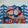 Un amour d'hiver en point de croix et perles de rocailles.