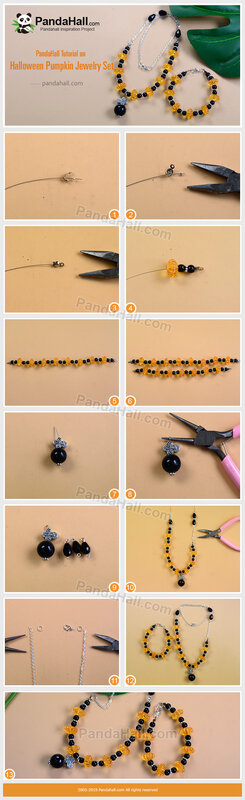 4-PandaHall-Tutorial-on-Halloween-Pumpkin-Jewelry-Set
