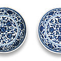a rare pair of ming-style blue and white saucer-dishes, yongzheng six character marks and of the period