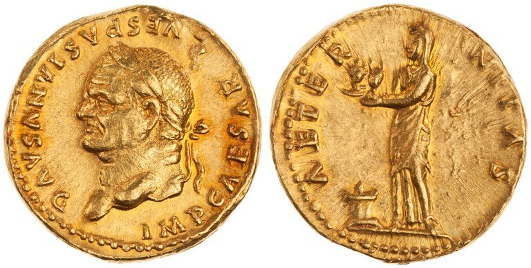 Aureus Issued by Vespasian (reverse) Aeternitas Holding Busts of Sol and Luna