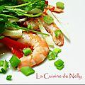 Salade de crevettes au fenouil et poivron rouge