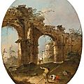 Francesco guardi (venice 1712 - 1793), an architectural capriccio with figures by a ruined arch