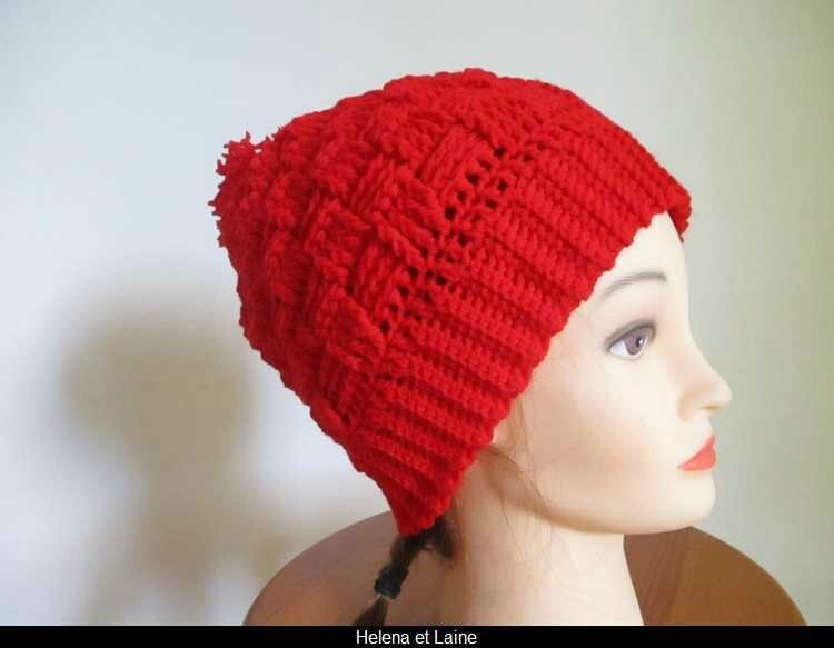 Bonnet rouge point panier et pompon2
