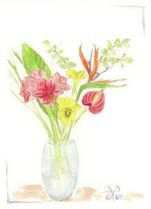Aquarelle bouquet exotique