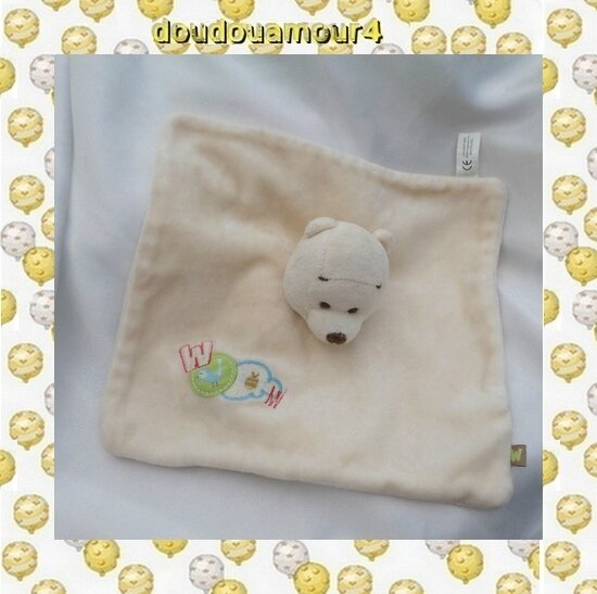 Doudou Ours Winnie L'ourson Plat Ecru Woom Disney Carrefour