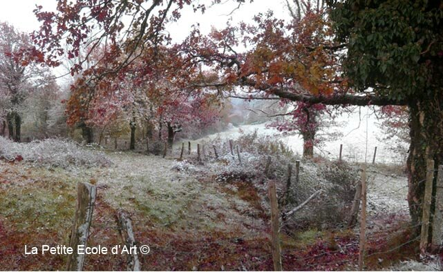 Neige d'automne vallée lot espalion