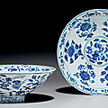 A pair of ming-style blue and white conical bowls, kangxi period (1662-1722)