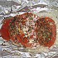 Côtes de porc en papillote ( avec de la tomate et de la moutarde )