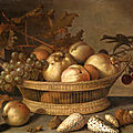 Balthasar van der ast, a basket with cherries, apples, peaches and a bunch of grapes, surrounded by apples, peaches, shells, bee
