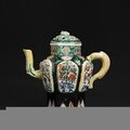 double walled Famille Noir Teapot, China, Kangxi period