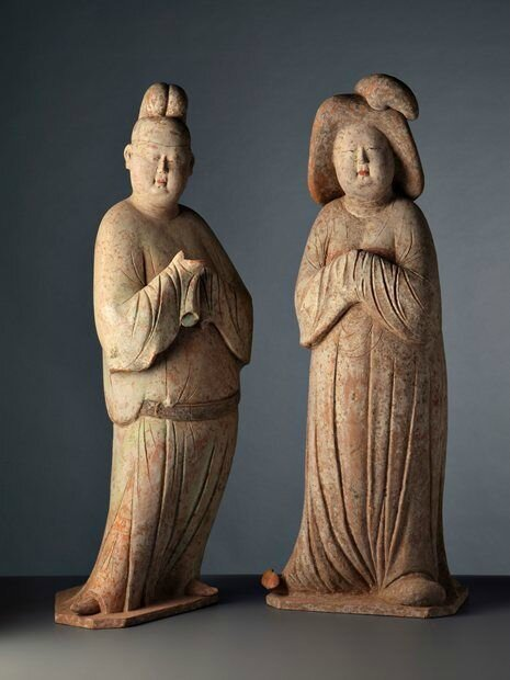 Court Lady & Gentleman, China, Tang Dynasty (h. 78 cm) -