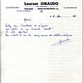 Papier en-tête Laurent Giraudo Décembre 1963