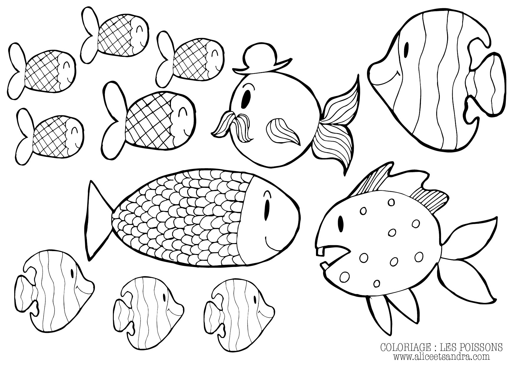 Coloriage imprimer poisson d avril alice sandra - Coloriage avril ...
