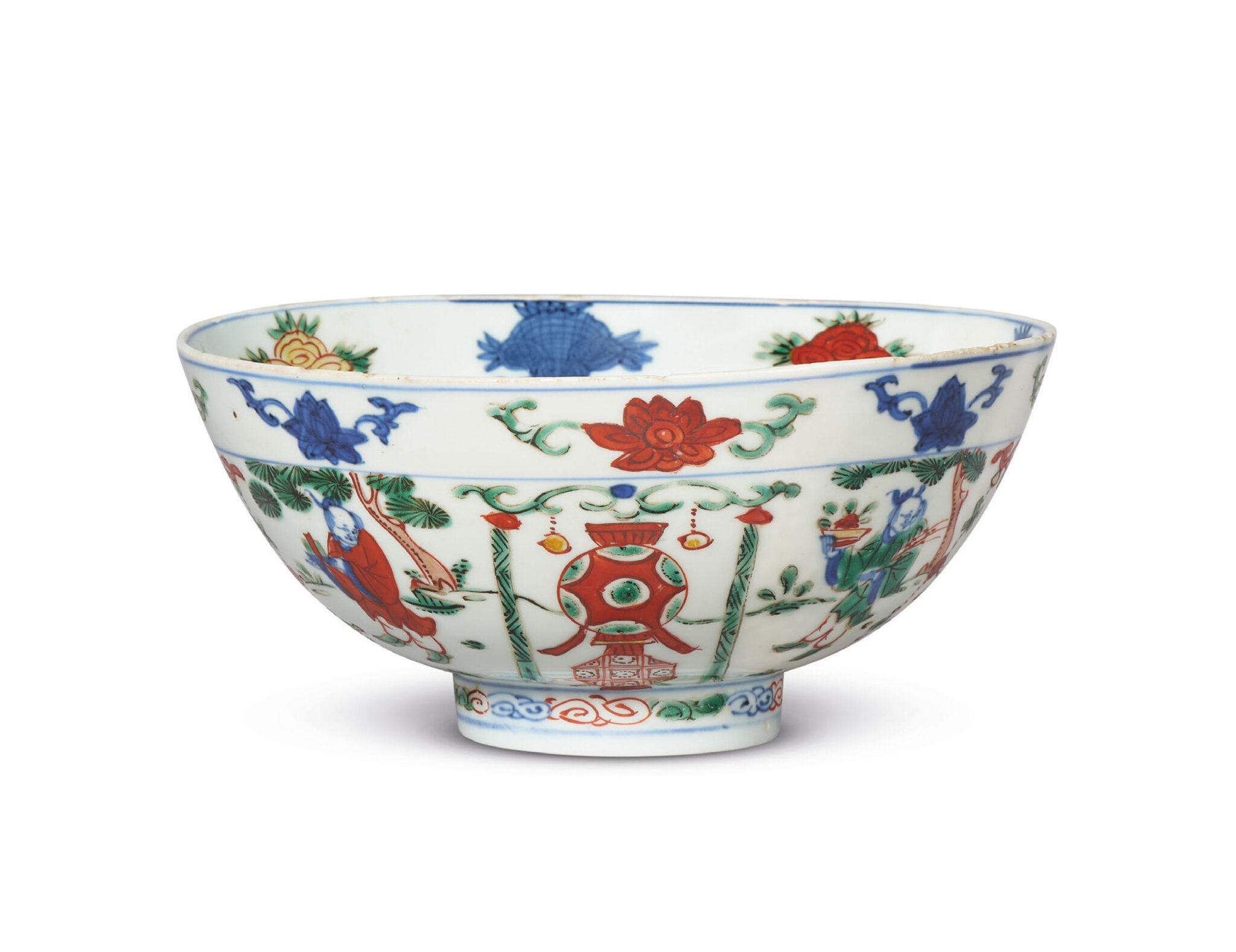 A rare wucai bowl, Wanli six-character mark in underglaze blue and of the period (1573-1619)