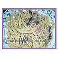 Spaguetti jambon,champignon et petits pois