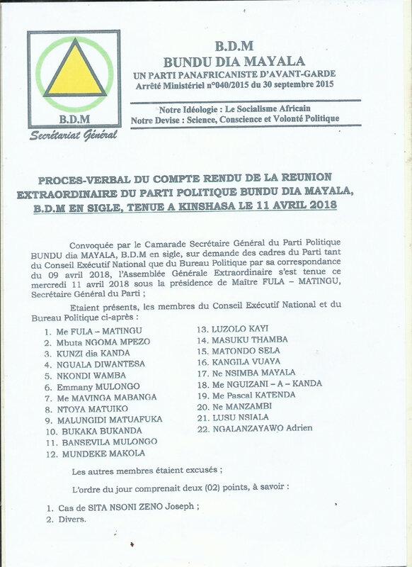 PROCES VERBAL DE BDM KINSHASA SUR LE CAS DE SITA NSONI ZENO a