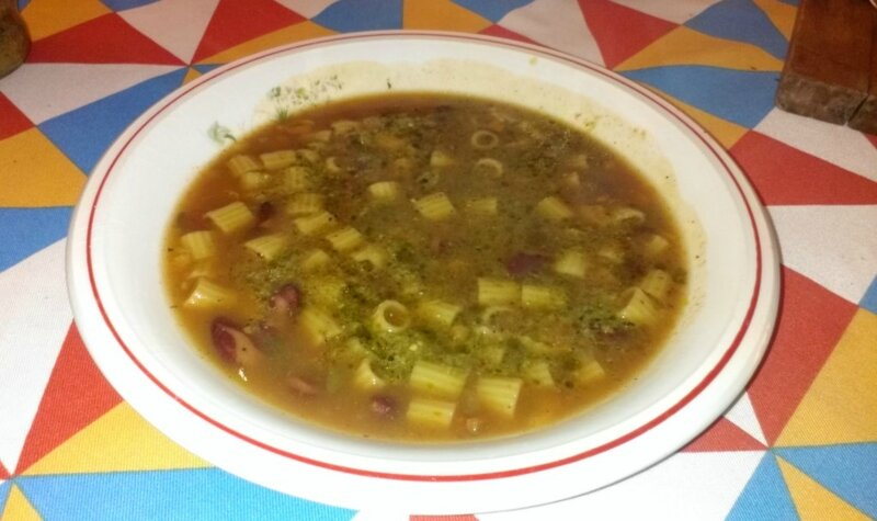 Minestrone de légumes au pesto et pâtes 1