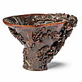 A rare rhinoceros horn libation cup, 17th-18th century