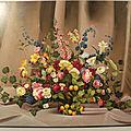 Tableau peinture nature morte bouquet de fleurs xxème
