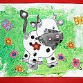 Coloriage avec une voiture: petite vache