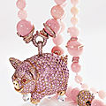 Diamond and opal demi-parure, 'pig' from the animal world collection, chopard