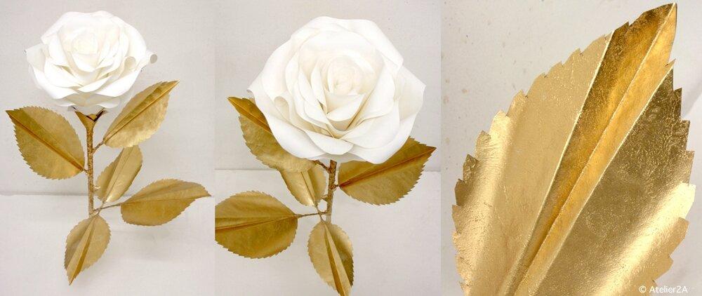 cr ation de fleurs g antes en papier roses or et blanc pour la d coration d 39 un espace. Black Bedroom Furniture Sets. Home Design Ideas