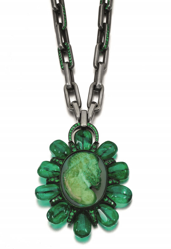 Emerald, hardstone cameo and tsavorite garnet pendant necklace, Hemmerle