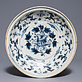A Vietnamese blue and white lotus dish, Hội An shipwreck hoard, 15th century