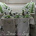 Mariage et Baptême blanc gris et vert, thème grenouilles
