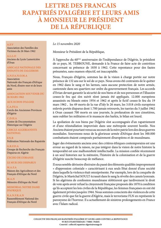 lettre des Français rapatriés, 15 nov 2020