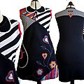 MOD 465D Robe colorée fantaisie Fleurie rayure noire blanche multicolore