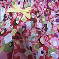 Culotte BIANCA en coton rose fleuri vert jaune rouge brique - Noeud jaune (3)