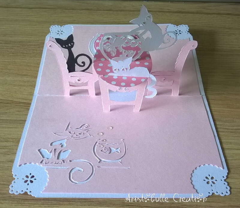 Carte anniversaire chatons fripons - ouverte