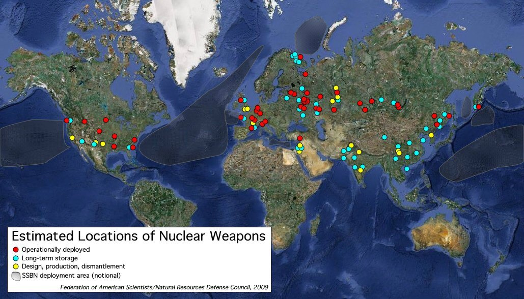 Estimated locations of nuclear weapons around the world