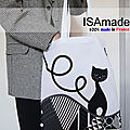 Tote bag chat noir blanc fantaisie