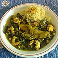 Couscous de filets de cabillaud aux épinards et pois chiches