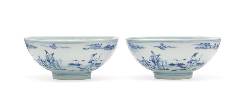 A pair of blue and white bowls, Yongzheng six-character marks and of the period (1723-1735)