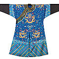 An embroidered blue-ground 'dragon' robe, mangpao, 19th century