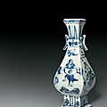A very rare blue and white faceted vase, Ming dynasty, late 15th century