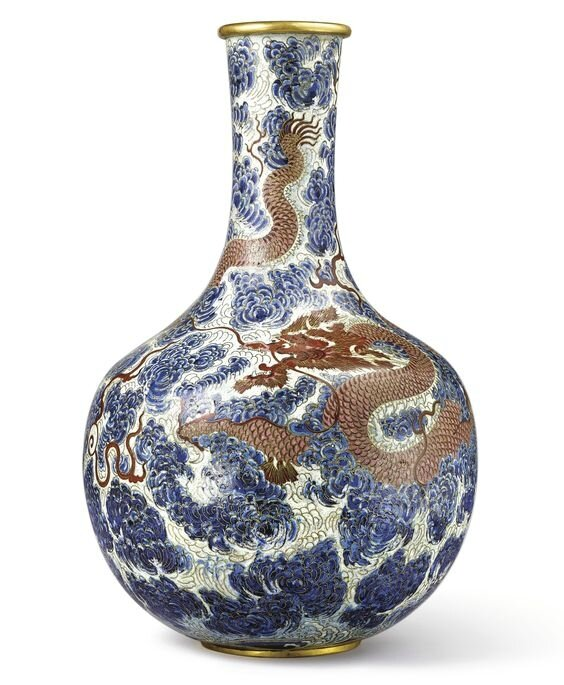 An extremely rare and large cloisonné enamel 'Dragon