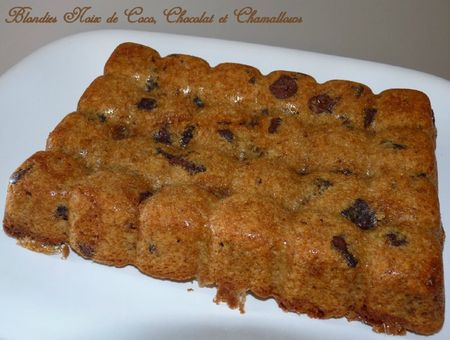 Blondies noix de coco, chocolat et chamallows2