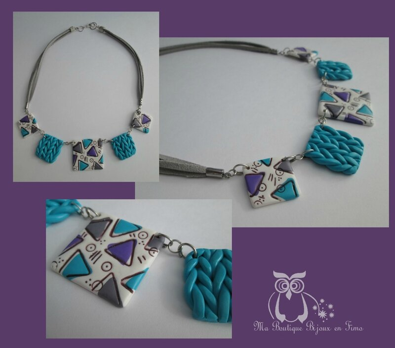 Collier tricot triangle turquoise